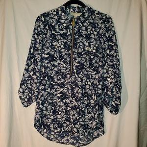 NWT Michael Kors MK half zip blouse top flowers